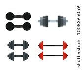 dumbbell icon set. flat set of... | Shutterstock .eps vector #1008365059