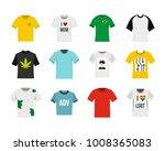 soccer tshirt icon set. flat... | Shutterstock .eps vector #1008365083