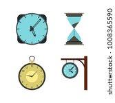 clock icon set. flat set of... | Shutterstock .eps vector #1008365590