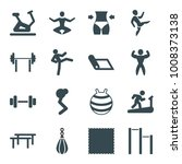 gym icons. set of 16 editable... | Shutterstock .eps vector #1008373138