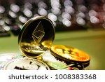 ethereum on gold background to... | Shutterstock . vector #1008383368