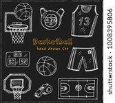 basketball hand drawn doodle...   Shutterstock .eps vector #1008395806