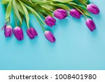 frame of tulips on turquoise ... | Shutterstock . vector #1008401980