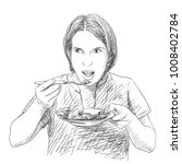sketch of eating woman  hand... | Shutterstock .eps vector #1008402784