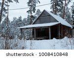 hut in the winter forest in the ... | Shutterstock . vector #1008410848