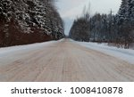 winter country road goes to the ... | Shutterstock . vector #1008410878