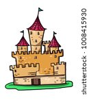 castle illustration drawing and ... | Shutterstock .eps vector #1008415930
