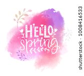 hello spring text on pink... | Shutterstock .eps vector #1008416533
