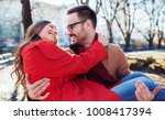 dating. young couple at the... | Shutterstock . vector #1008417394