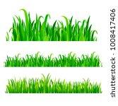 green grass borders  vector set | Shutterstock .eps vector #1008417406
