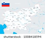 slovenia map and flag   high... | Shutterstock .eps vector #1008418594
