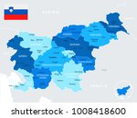 slovenia map and flag   high... | Shutterstock .eps vector #1008418600