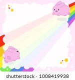 pink bunnies jumping on rainbow ... | Shutterstock .eps vector #1008419938