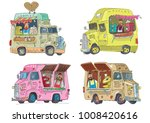 cute and funny street food vans.... | Shutterstock .eps vector #1008420616