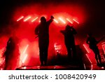 silhouettes of music band on... | Shutterstock . vector #1008420949