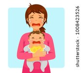 young mother crying while... | Shutterstock . vector #1008423526
