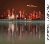 vector night city skyline with... | Shutterstock .eps vector #1008427834