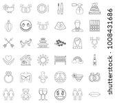 love affair icons set. outline...   Shutterstock .eps vector #1008431686