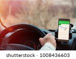 smartphone in a car use for...   Shutterstock . vector #1008436603