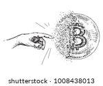hand drawn bitcoin sign like... | Shutterstock .eps vector #1008438013