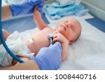 Newborn baby. Little child in medicine hospital. Medical health care. Doctor pediatrician. Small kid, infant in clinic.