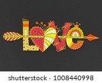 love. hand drawn lettering.... | Shutterstock .eps vector #1008440998