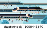 modern high speed trains... | Shutterstock .eps vector #1008448690