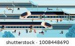 modern high speed trains... | Shutterstock .eps vector #1008448690