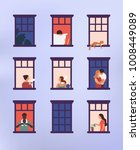 windows with neighbors doing... | Shutterstock .eps vector #1008449089