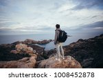 lonely figure or adventurer and ... | Shutterstock . vector #1008452878