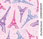 Vector Drawing Pink Eifel Towe...