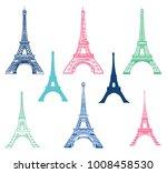 vector set of different eiffel... | Shutterstock .eps vector #1008458530