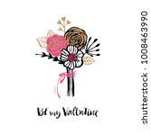 be my valentine. bouquet of... | Shutterstock .eps vector #1008463990