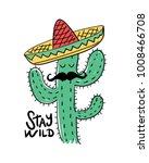 cactus drawing with mexican hat ... | Shutterstock .eps vector #1008466708