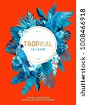 tropical hawaiian poster with... | Shutterstock .eps vector #1008466918