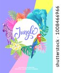 tropical hawaiian design. round ... | Shutterstock .eps vector #1008466966