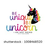 be unique be unicorn text and... | Shutterstock .eps vector #1008468520