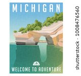 michigan travel poster or... | Shutterstock .eps vector #1008476560