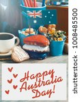 Small photo of Celebrate Australia Day holiday on January 26 . Happy Australia Day message greeting card. patriotic breakfast