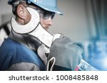 worker with huge iron wrench... | Shutterstock . vector #1008485848