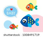baby arrival greeting card with ... | Shutterstock .eps vector #1008491719