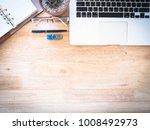 brown wood office desk table... | Shutterstock . vector #1008492973