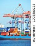 port cargo crane  ship and... | Shutterstock . vector #1008500233