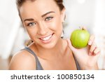 pretty healthy young woman...   Shutterstock . vector #100850134