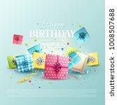 happy birthday greeting card... | Shutterstock .eps vector #1008507688