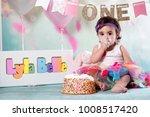 baby girl cake smash | Shutterstock . vector #1008517420