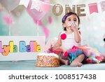 baby girl cake smash | Shutterstock . vector #1008517438