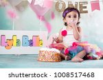 baby girl cake smash | Shutterstock . vector #1008517468