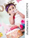 baby girl cake smash | Shutterstock . vector #1008517474