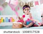 baby girl cake smash | Shutterstock . vector #1008517528